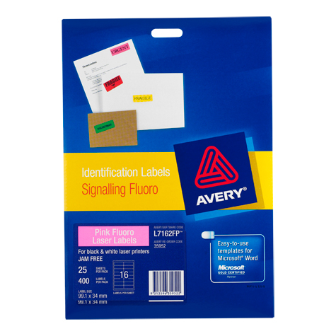 avery l7162fp fluoro pink signalling labels 35952 23 65 mp